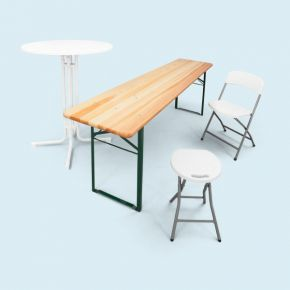 Tables, benches, chairs & stools