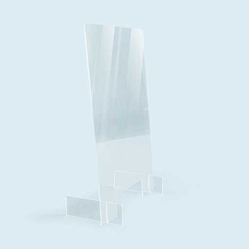Mobile sneeze guard made of clear acrylic glass