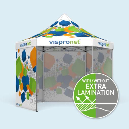 Gazebo Select Hexagon 4 m, 4 full walls with print