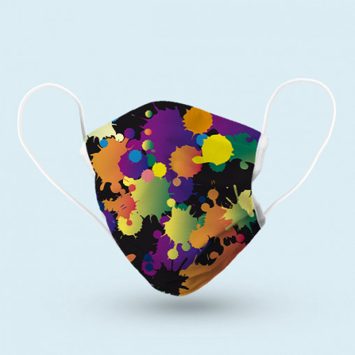 Reusable face mask, with motif: coloured