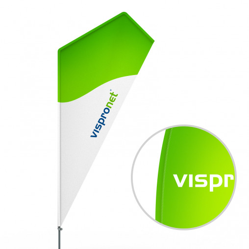 Bowflag® Razor, Printed hemstitch - approx. 10% more advertising space