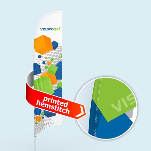 Bowflag® Select, konkav, Hohlsaum bedruckt - ca. 10 % mehr Werbefläche