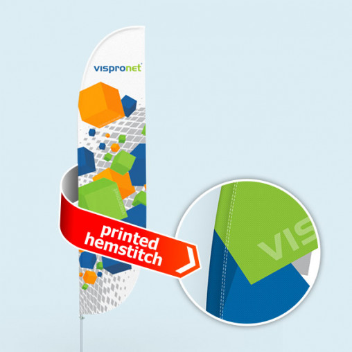 Bowflag® Select, konvex, Hohlsaum bedruckt - ca. 10 % mehr Werbefläche