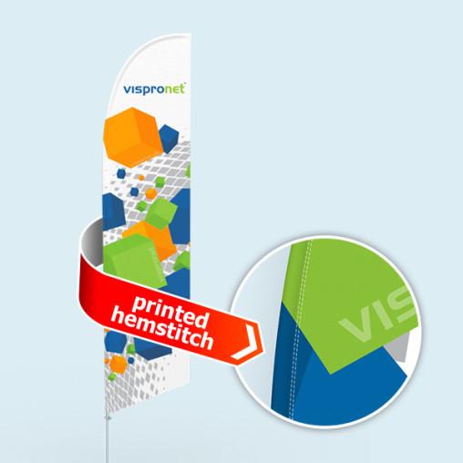 Bowflag® Select, schräg, Hohlsaum bedruckt - ca. 10 % mehr Werbefläche