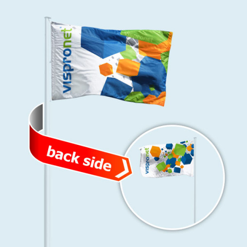 Double-sided flag in horizontal format, different image