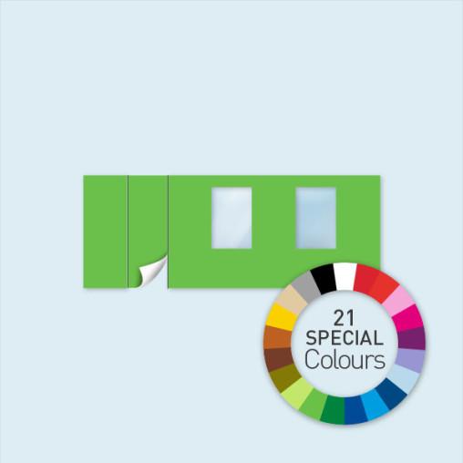 Wand mit 1 Tür links &  2 Fenstern 600 x 220 cm, in 21 Sonderfarben erhältlich