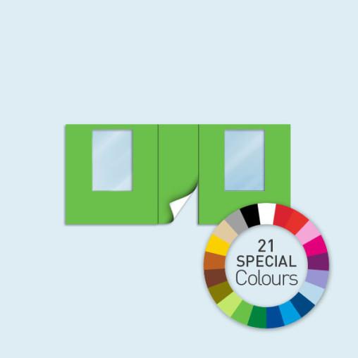 Wand mit Tür mittig und 2 Fenstern 450 x 205 cm, in 21 Sonderfarben erhältlich