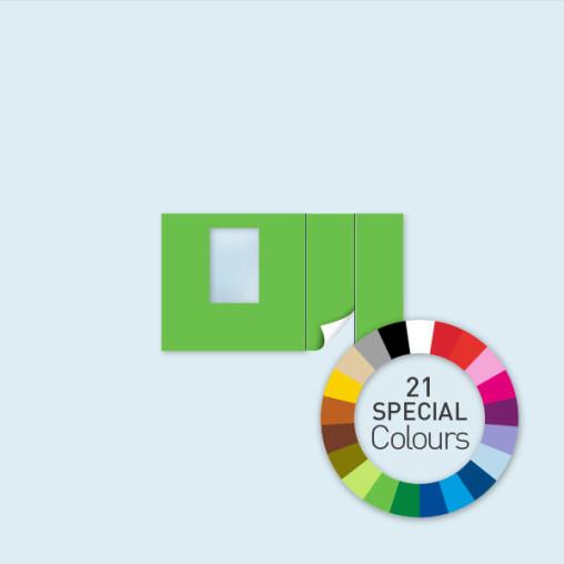 Wand mit Tür rechts und Fenster 400 x 220 cm, in 21 Sonderfarben erhältlich