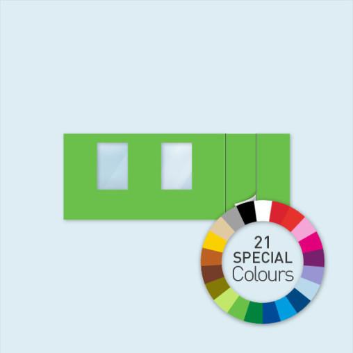 Wand m. 1 Tür rechts & 2 Fenstern 600 x 220 cm, in 21 Sonderfarben erhältlich