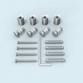 Wall Mount stainless steel ø 10 mm/15 mm for panel hole ø 7 mm, set of 4