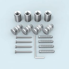 Wall Mount stainless steel ø 13 mm/20 mm for panel hole ø 10 mm, set of 4