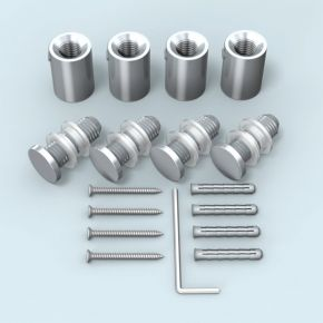 Wall Mount stainless steel ø 18 mm/25 mm for panel hole ø 13 mm, set of 4