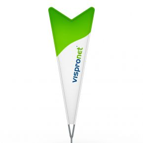 Bowflag® Dart, printed hemstitch - approx. 10% more advertising space