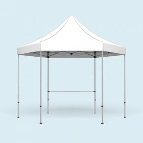 Pop Up Tent Select Hexagon - example with 1 crossbar for half-height walls