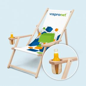 Deck chair with armrest & drink holder, 3-step height-adjustable