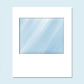 Wall Hexagon with panorama window, white without print, width 2 m