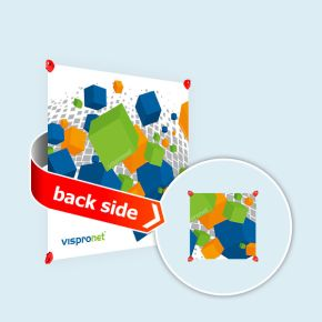 Banner in square format, double-sided print with clips