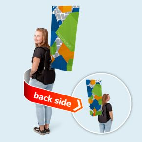 Promotion backpack with flag - size  47 x 91 cm, double-sided