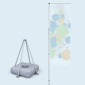 Mobile flagpole T-Pole® 200 with cross base Ø 110 cm/3.3 kg incl. water-fillable weight 50 l