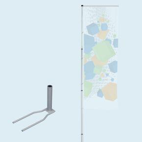 Mobile flagpole T-Pole® 200 with tube base Economy