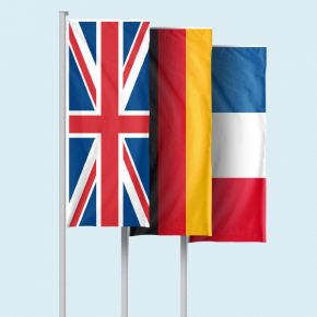 National flags in portrait format with/without Flag Presenter Basic