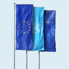 EU / Nato / UN flags in portrait format with sleeve for banner arm