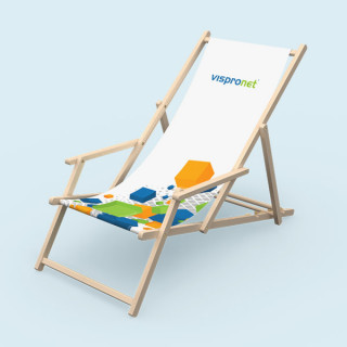 Deck chair with armrests made of natural beech wood